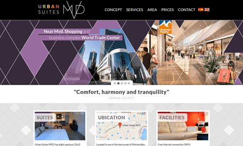 Sitio web del complejo habitacional Urban Suites Montevideo