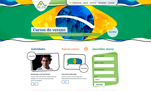 Sitio web del instituto de idiomas Casa do Brasil