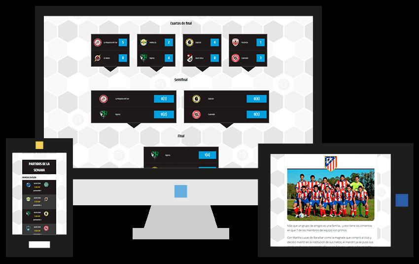 Diseño web de Liga América para dispositivos móviles